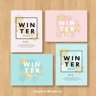 Niebieskie i różowe zimowe szablony kart sprzedaży