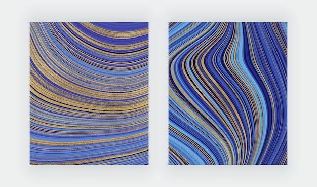 Niebieskie i zielone karty pociągnięcia pędzlem akwarela z geometrycznym marmurem. streszczenie ręcznie malowane tła.