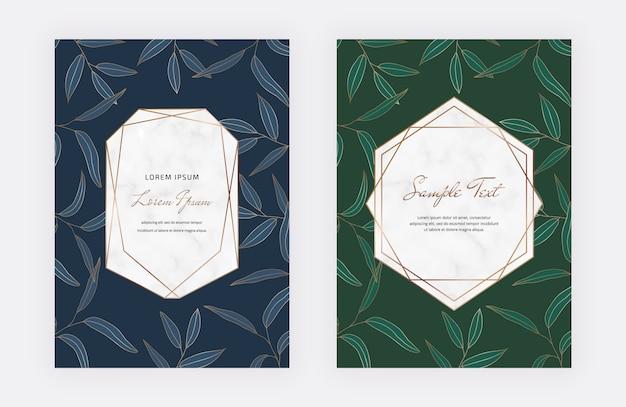 Niebieskie i zielone karty z liśćmi, geometryczne białe marmurowe ramki. niebieskie i zielone karty z liśćmi, geometryczne białe marmurowe ramki.