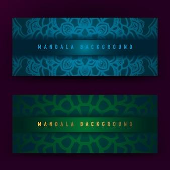 Niebieskie i zielone tło mandali