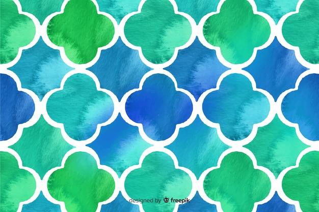 Niebieskie i zielone tło mozaiki akwarela