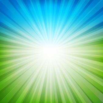 Niebieskie i zielone tło sunburst