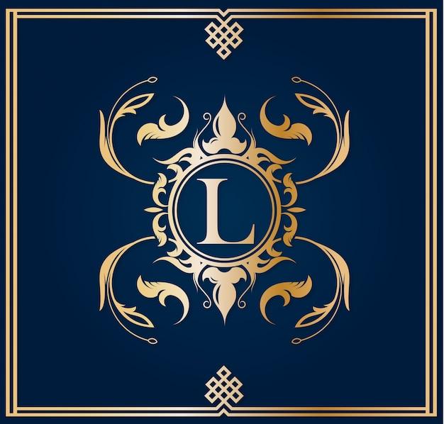 Niebieskie i złote logo z wielką literą