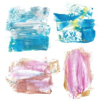 Niebieskie i złote plamy z farby marmurowej. tekstury marmurowe tło