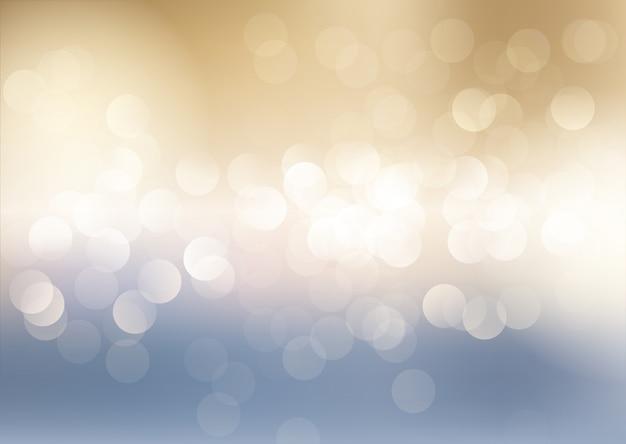 Niebieskie i złote tło bokeh świateł