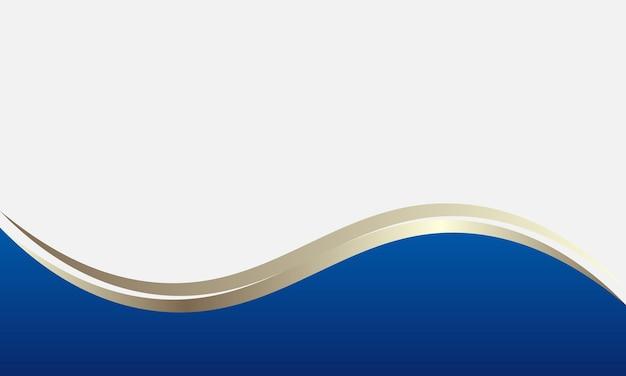 Niebieskie i złote tło falisty kształt. inteligentny projekt reklamy biznesowej.