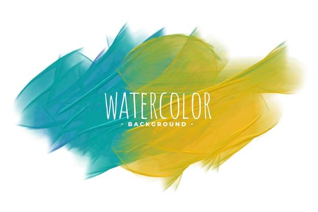 Niebieskie i żółte abstrakcyjne tło akwarela tekstury