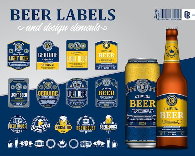 Niebieskie i żółte etykiety piwa premium.