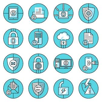 Niebieskie ikony komputerowe
