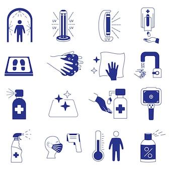 Niebieskie ikony koronawirusa czyszczenie i dezynfekcja powierzchni żel do mycia rąk lampa uv mata dezynfekująca