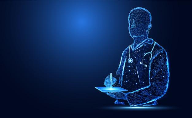 Niebieskie jasne tło sylwetka lekarza