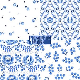 Niebieskie kwiaty i liście kwiatowy rosyjski porcelanowy piękny ornament ludowy. ilustracja. bezszwowe tło wzór.