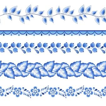 Niebieskie kwiaty kwiatowy rosyjski porcelanowy piękny ornament ludowy. ilustracja. bezszwowe granice poziome.