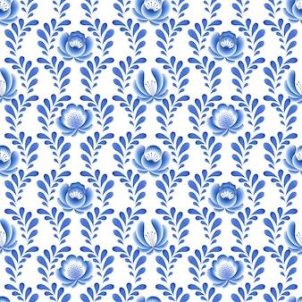 Niebieskie kwiaty kwiatowy rosyjski porcelanowy piękny ornament ludowy. ilustracja. bezszwowe tło wzór.