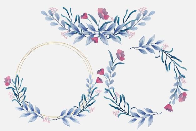 Niebieskie kwieciste ramki w stylu akwareli