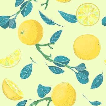 Niebieskie liście i żółta cytryna lub inne owoce cytrusowe, dekoracyjne bezszwowe tło.
