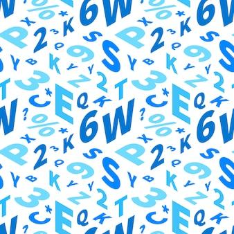 Niebieskie litery w rzucie izometrycznym