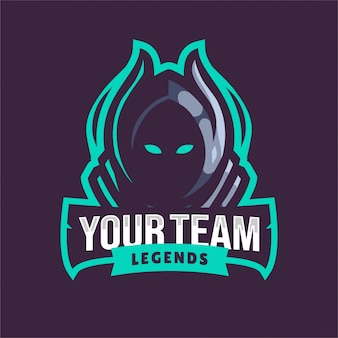 Niebieskie logo e-sport grim reaper