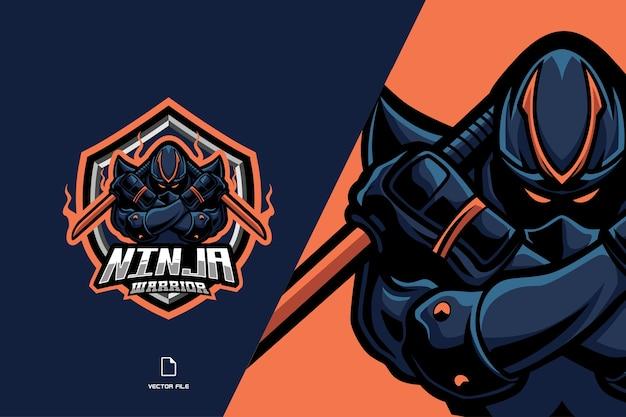 Niebieskie logo esport maskotki ninja dla ilustracji szablonu zespołu gier sportowych