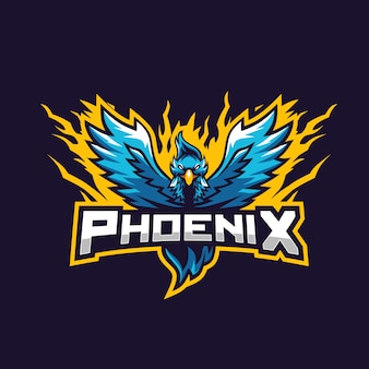 Niebieskie logo feniks niesamowite dla e-sportu drużyny