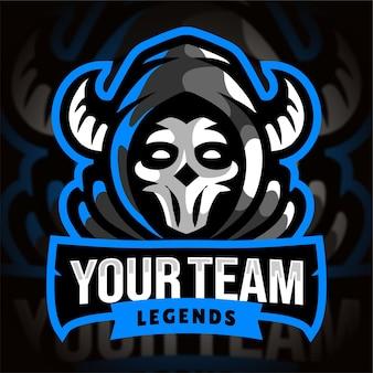 Niebieskie Logo Gier E-sportowych Grim Reaper Premium Wektorów