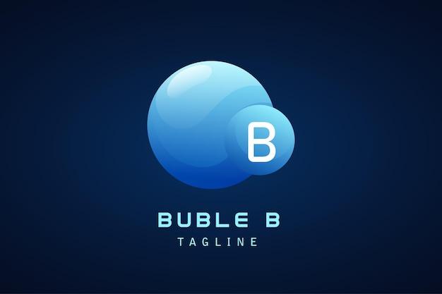 Niebieskie logo gradientowe koło bąbelkowe