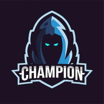Niebieskie logo gry maskotka ponury żniwiarz