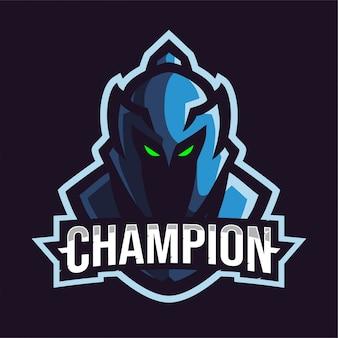 Niebieskie Logo Gry Maskotka Sparta Premium Wektorów