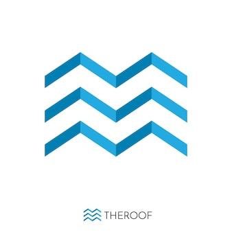 Niebieskie logo koncepcja dachu i fal. szablon logo.