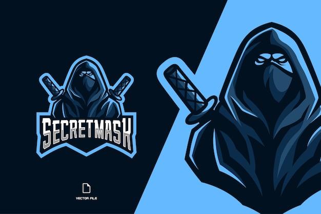 Niebieskie logo maskotki ninja dla drużyny e-sportowej i sportowej
