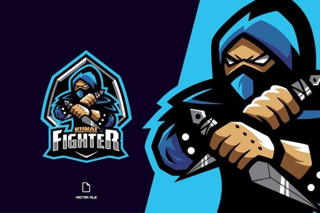 Niebieskie logo maskotki ninja dla drużyny esportowej i sportowej