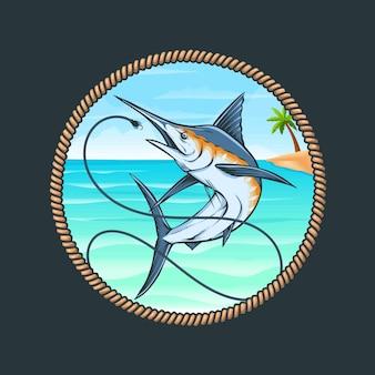Niebieskie logo połowów marlina