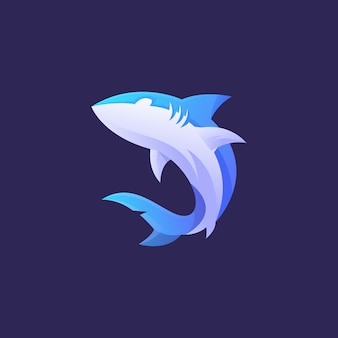 Niebieskie logo rekina