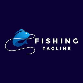 Niebieskie logo rybackie kolorowe