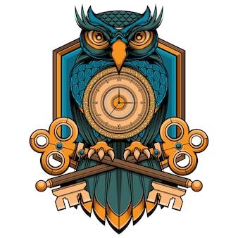Niebieskie logo sowy