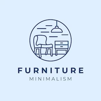Niebieskie minimalistyczne logo mebli