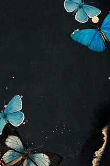 Niebieskie motyle wzorzyste na czarnym tle wektoru