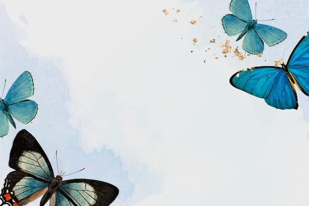 Niebieskie motyle wzorzyste tło wektor