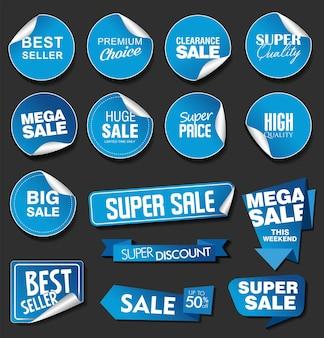 Niebieskie naklejki sprzedaży na kolekcji ilustracji na czarnym tle