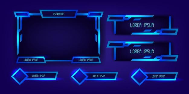 Niebieskie neonowe panele ramek do gier e-sportowych na żywo nowoczesny tech cyber futurystyczny wyświetlacz elegancki