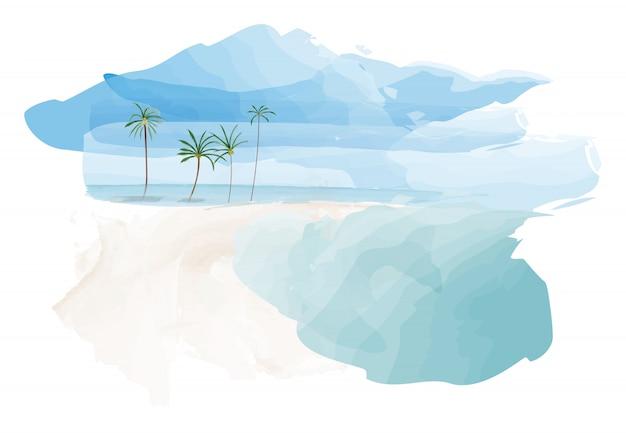 Niebieskie niebo i plaża z kokosowymi drzewkami palmowymi