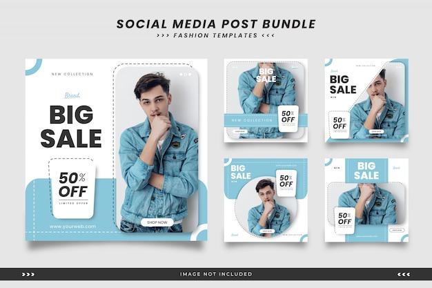 Niebieskie nowoczesne minimalistyczne moda social media szablony postów
