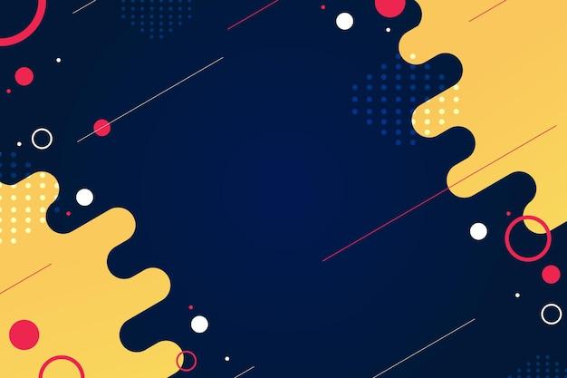 Niebieskie nowoczesne tło z żółtymi falami i różowymi kształtami