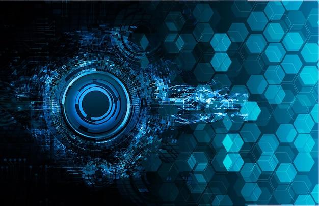 Niebieskie oko cyber obwodu przyszłości koncepcja technologii tła