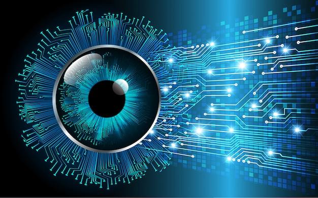 Niebieskie oko cyber obwodu technologii pojęcia przyszłościowy tło