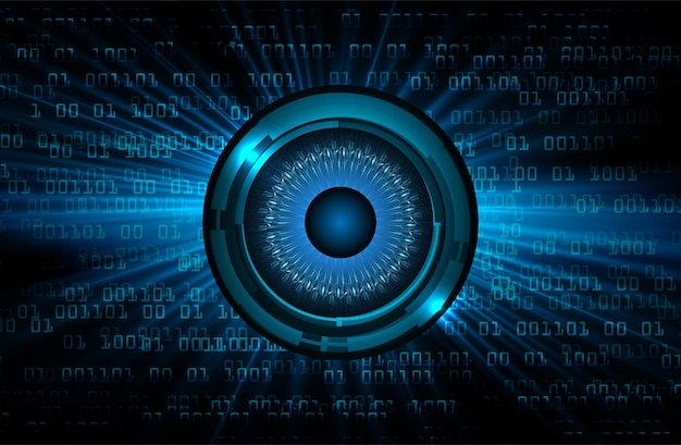 Niebieskie oko obwód cyber przyszłości koncepcja technologii