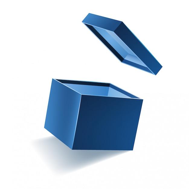 Niebieskie otwarte 3d realistyczne pudełko