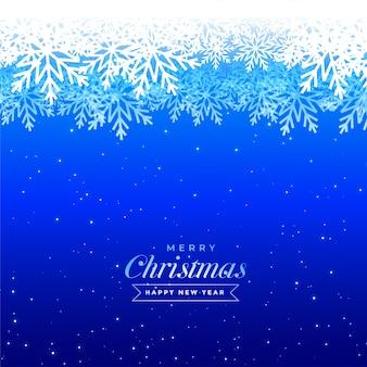 Niebieskie płatki śniegu zima boże narodzenie piękny projekt karty z pozdrowieniami