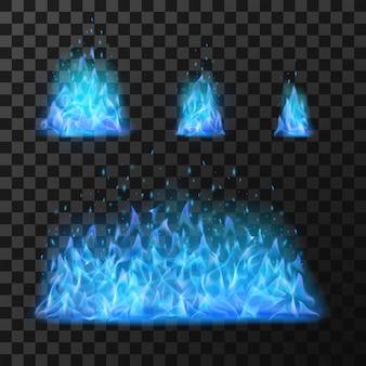 Niebieskie płomienie ognia. lekkie gorące płonące, niebezpieczeństwo i ilustracja oparzenia mocy, ognisty, ciepły blask energii wektor