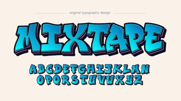 Niebieskie pogrubione graffiti pojedyncze litery